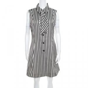 McQ by Alexander McQueen Monochrome Striped Detachable Neck Tie Detail Sheath Dress L