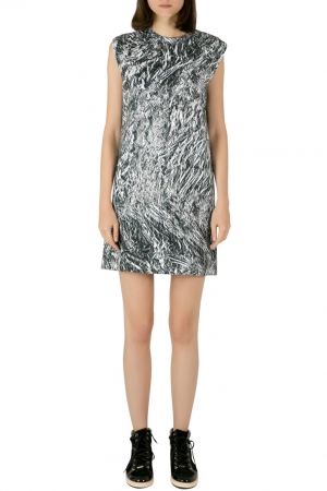 McQ by Alexander McQueen Silver Foil Printed Cotton Stretch Sleeveless Shift Dress M