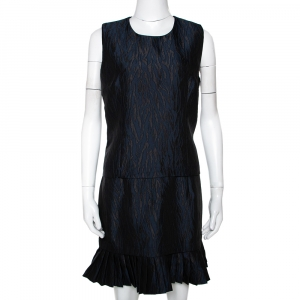 Mcq by Alexander McQueen Navy Blue Jacquard Pleated Mini Dress M