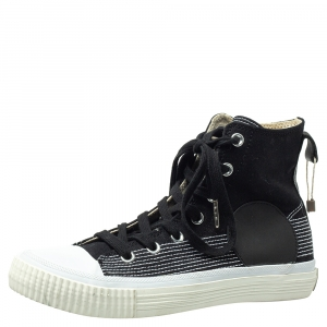 McQ by Alexander McQueen Black Canvas And Leather Swallow Plimsoll High Top Sneakers Size 40