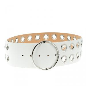 McQ by Alexander McQueen White Leather Circle Buckle Belt XXL