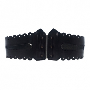 McQ by Alexander McQueen Black Leather Bridle Corset Belt Size S