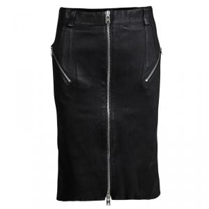 McQ By Alexander McQueen Black Lamb Leather Ruffled Back Pencil Skirt S