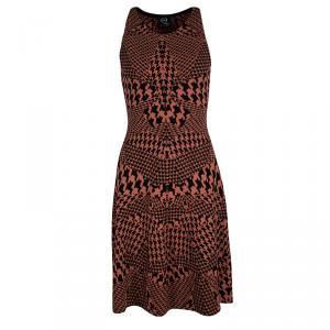 McQ By Alexander McQueen Orange Houndstooth Knit Sleeveless Dress S