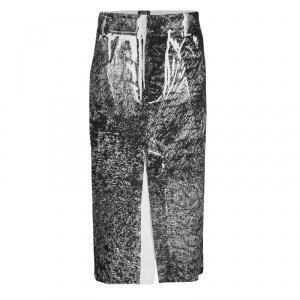 McQ by Alexander McQueen Monochrome Trompe-L'oeil Print Midi Pencil Skirt M