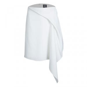 McQ by Alexander McQueen White Draped Asymmetric Handkerchief Skirt L