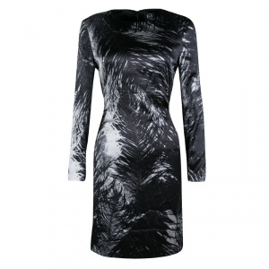 McQ by Alexander McQueen Monochrome Printed Silk Satin Long Sleeve Dress M - used