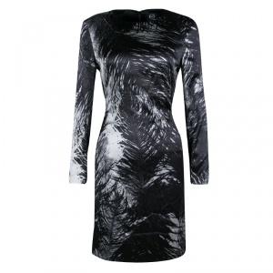 McQ by Alexander McQueen Monochrome Printed Silk Satin Long Sleeve Dress M - used