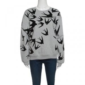 McQ By Alexander McQueen Grey Flocked Swallow Sweatshirt S