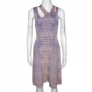 McQ by Alexander McQueen Pink and Blue Crocodile Patterned Jacquard Fit and Flare Dress XS - used