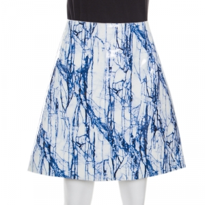 McQ by Alexander McQueen Blue and White Marble Printed Glazed Leather A Line Skirt M