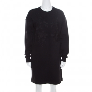 McQ by Alexander McQueen Black Cotton Stretch Rose Tonal Embroidered Sweater Dress XS - used
