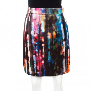 McQ By Alexander McQueen Multicolor Blurry Lights Print Skirt S