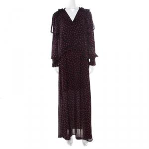 McQ By Alexander McQueen Black Polka Dot Ruffle Detail Maxi Dress M