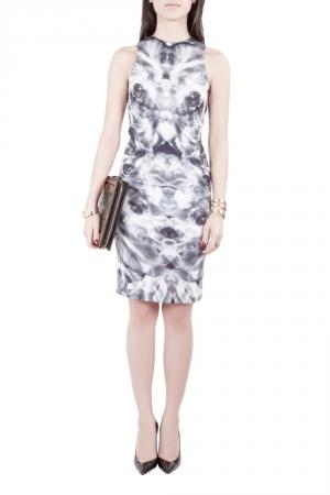 McQ by Alexander McQueen Grey Mirrored Iris Print Jersey Sleeveless Bodycon Dress XS - used