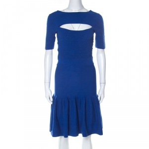 McQ by Alexander McQueen Blue Jersey Cut Out Neck Detail Fitted Fishtail Midi Dress S - used