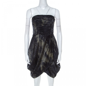 McQ by Alexander McQueen Moss Green and Black Feather Printed Strapless Dress M - used