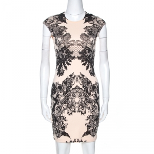 McQ by Alexander McQueen Bicolor Lace Printed Jersey Fitted Dress XS - used