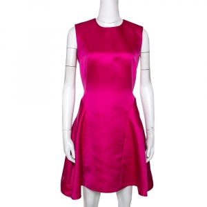 McQ by Alexander McQueen Pink Satin Gather Back Detail Cocktail Dress S used