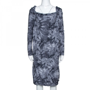 McQ by Alexander McQueen Graphite Printed Cotton Jersey Hooded Dress S - used