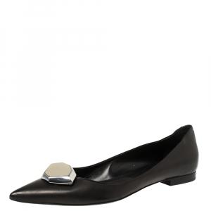Alexander McQueen Black Leather Studded Ballet Flats Size 39