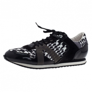 McQ by Alexander McQueen Houndstooth Canvas and Leather Sneakers Size 41