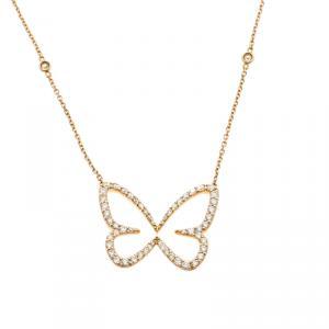 Messika Butterfly Ajouré Diamond & 18k Rose Gold Pendant Necklace