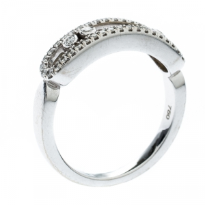 Messika Baby Move Pave Diamond 18K White Gold Ring Size 52.5