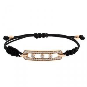 Messika Move Pave Diamonds 18k Rose Gold Adjustable Cord Bracelet