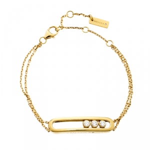 Messika Move Classique Diamond 18k Yellow Gold Double Chain Bracelet