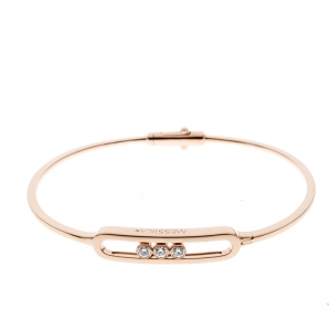 Messika Move Diamond 18k Rose Gold Narrow Bangle Bracelet
