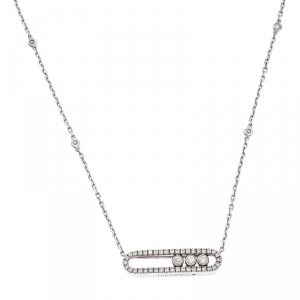 Messika Baby Move Pavé Diamond 18k White Gold Pendant Necklace