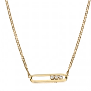 Messika Move Diamond 18K Yellow Gold Double Chain Necklace