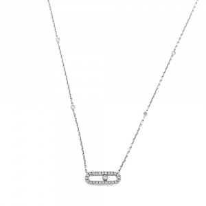 Messika Move Uno Pave Diamond 18K White Gold Necklace