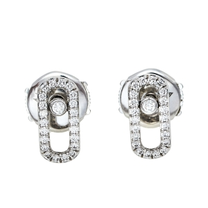 Messika Move Uno Diamond 18K White Gold Stud Earrings