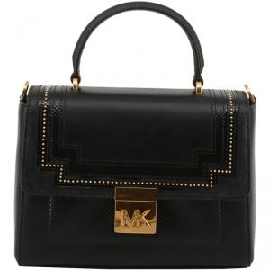 Michael Kors Black Leather Whitney Top Handle Bag