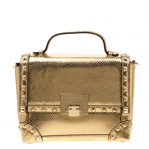 Michael Kors Gold Metallic Snakeskin Embossed Leather Small Tina Trunk Top Handle Bag