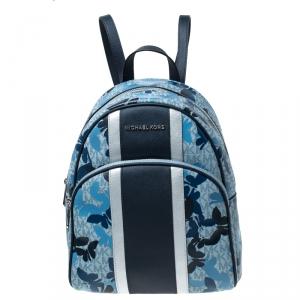 Michael Kors Blue Butterfly Monogram Coated Canvas Medium Abbey Backpack