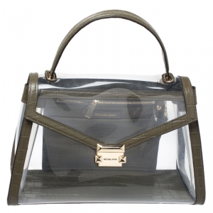 Michael Kors Clear/Olive Green PVC and Croc Embossed Leather Large Whitney Top Handle Bag