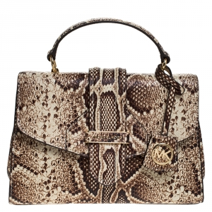 Michael Kors Beige Python Embossed Bleecker Top Handle Bag