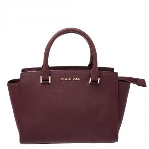 Michael Michael Kors Burgundy Leather Medium Selma Satchel