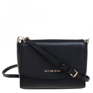 Michael Kors Black Leather Medium Ellis Crossbody Bag