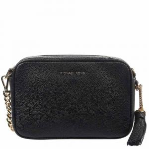 """حقيبة كروس مايكل كورس """"جيت سيت"""" جلد أسود"""