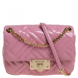 Michael Kors Pink Patent Leather Medium Peyton Shoulder Bag