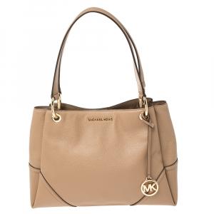 Michael Kors Beige Leather Medium Nicole Shoulder Bag