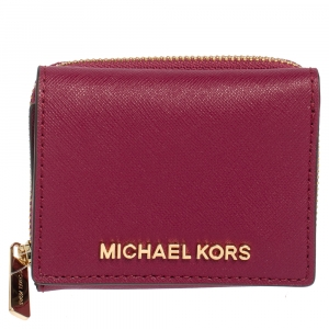 Michael Kors Pink Leather Trifold Card Case Wallet