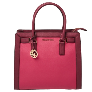 Michael Kors Raspberry/Red Leather Dillon Tote