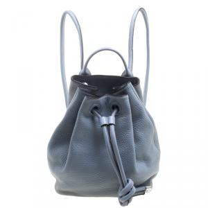 Michael Kors Powder Blue Leather Dalia Drawstring Backpack