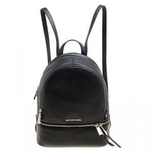 Michael Kors Black Leather Medium Reazip Backpack
