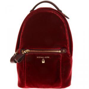Michael Kors Marroon Velvet Mini Kelsey Backpack
